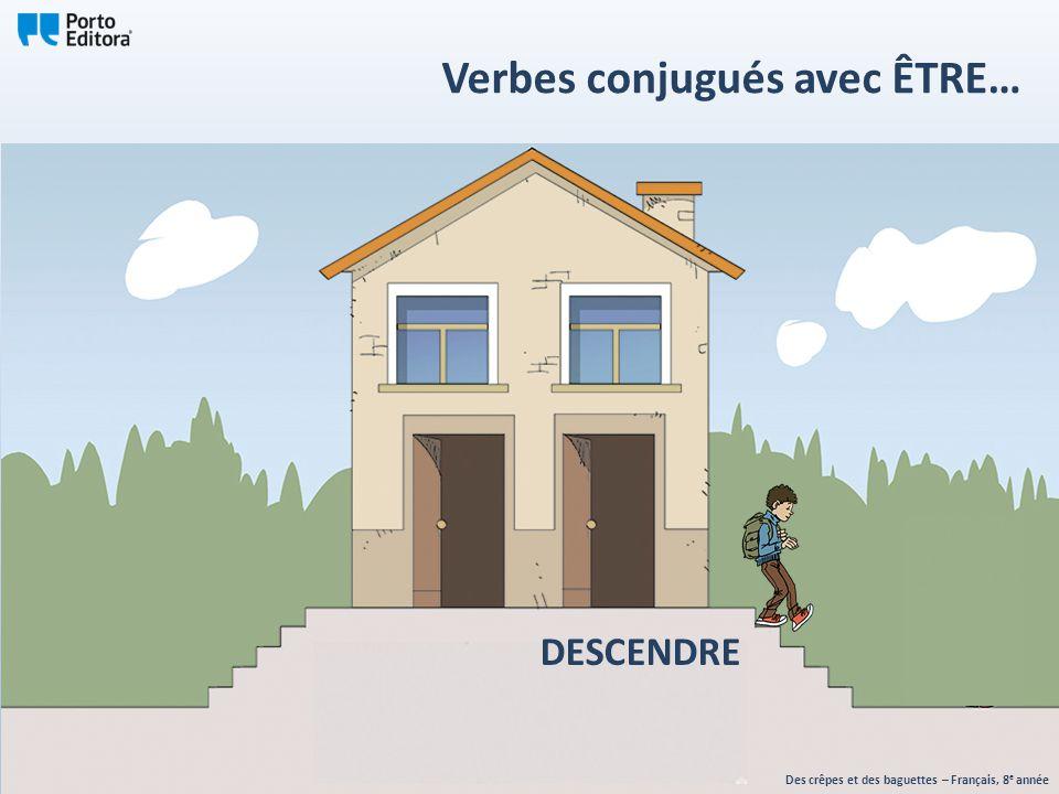 DESCENDRE Des crêpes et des baguettes – Français, 8 e année Verbes conjugués avec ÊTRE…