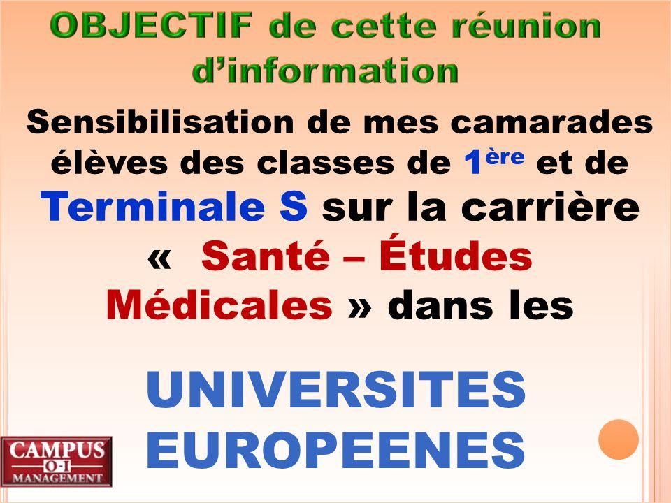 .En Roumanie Sur dossier (relevés de notes 1 ère S et Terminale S) + entretien en Français avec les doyens de Faculté