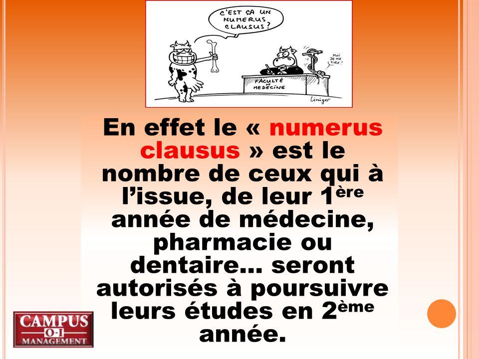 En effet le « numerus clausus » est le nombre de ceux qui à l'issue, de leur 1 ère année de médecine, pharmacie ou dentaire...