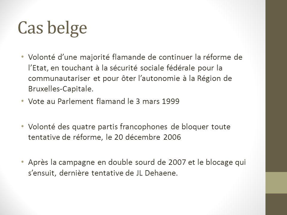 Cas belge Volonté d'une majorité flamande de continuer la réforme de l'Etat, en touchant à la sécurité sociale fédérale pour la communautariser et pour ôter l'autonomie à la Région de Bruxelles-Capitale.