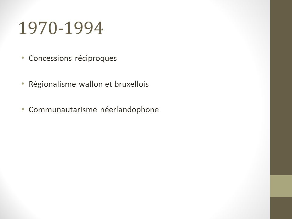 1970-1994 Concessions réciproques Régionalisme wallon et bruxellois Communautarisme néerlandophone
