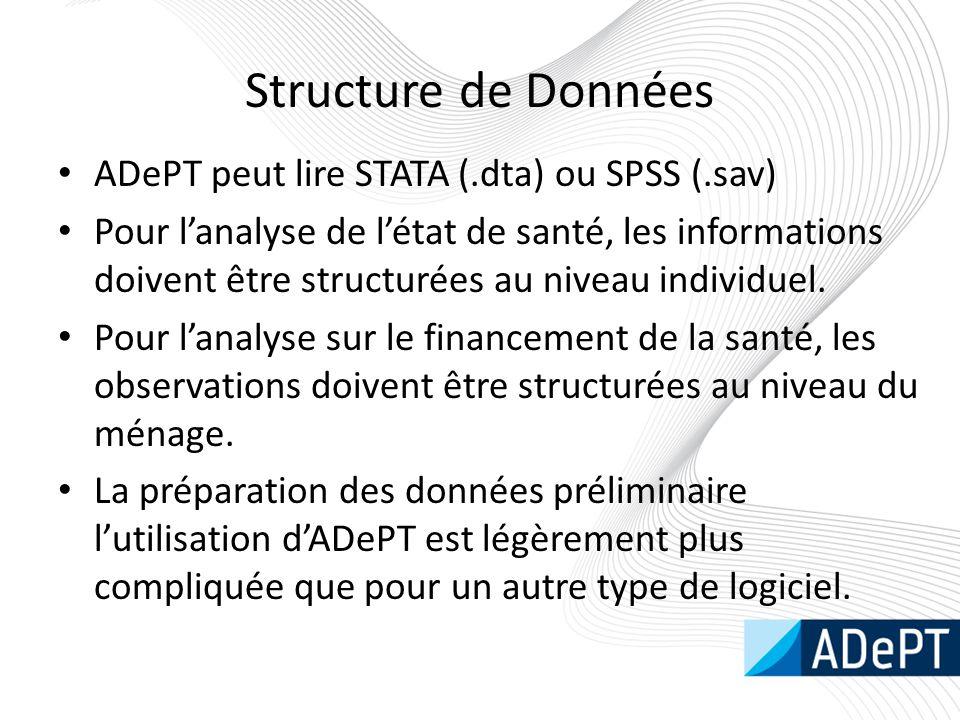 Structure de Données ADePT peut lire STATA (.dta) ou SPSS (.sav) Pour l'analyse de l'état de santé, les informations doivent être structurées au niveau individuel.