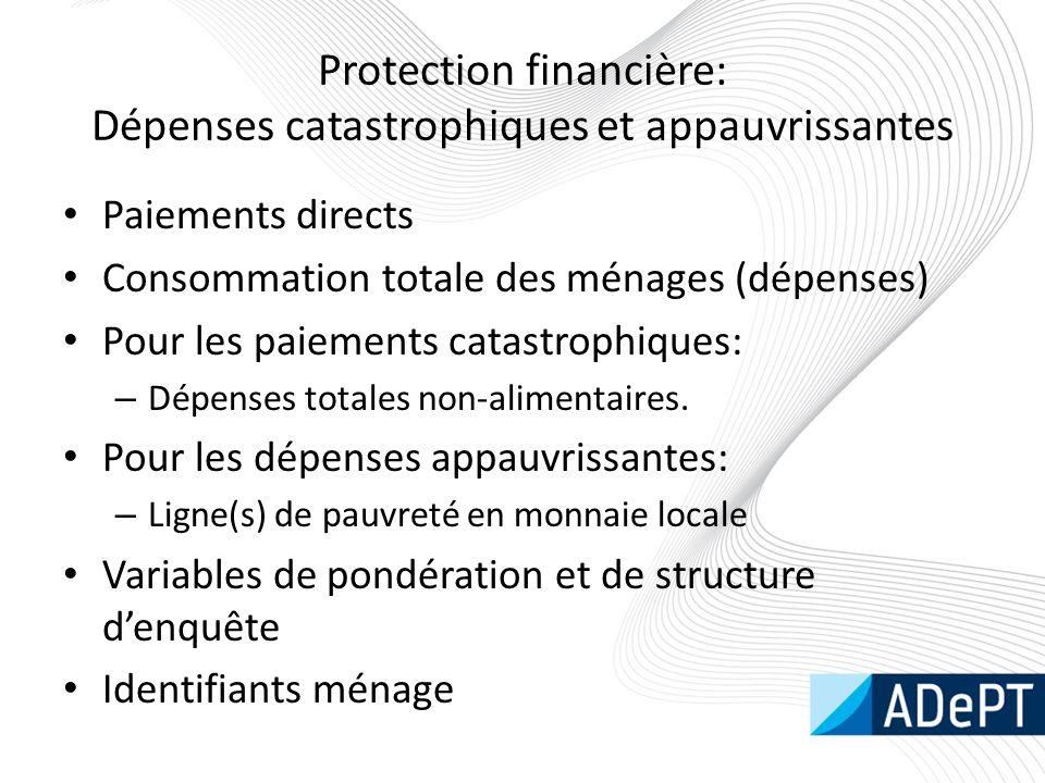 Protection financière: Dépenses catastrophiques et appauvrissantes Paiements directs Consommation totale des ménages (dépenses) Pour les paiements catastrophiques: – Dépenses totales non-alimentaires.