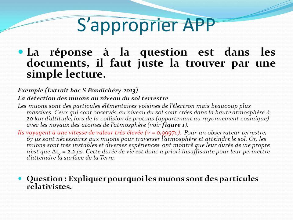 S'approprier APP La réponse à la question est dans les documents, il faut juste la trouver par une simple lecture.