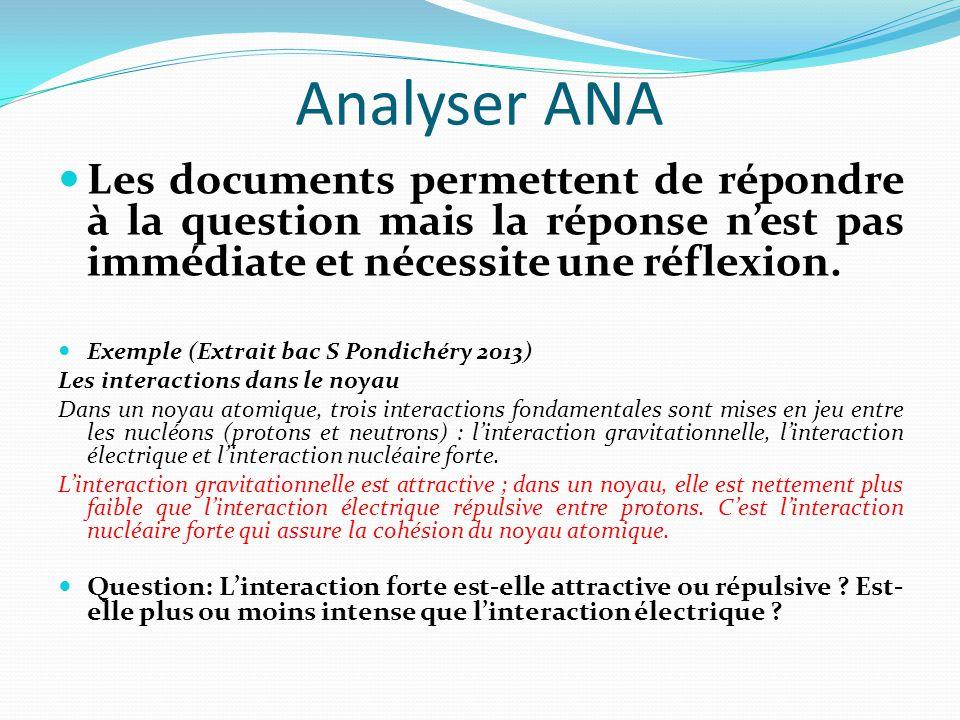 Analyser ANA Les documents permettent de répondre à la question mais la réponse n'est pas immédiate et nécessite une réflexion.