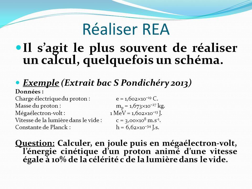 Réaliser REA Il s'agit le plus souvent de réaliser un calcul, quelquefois un schéma.
