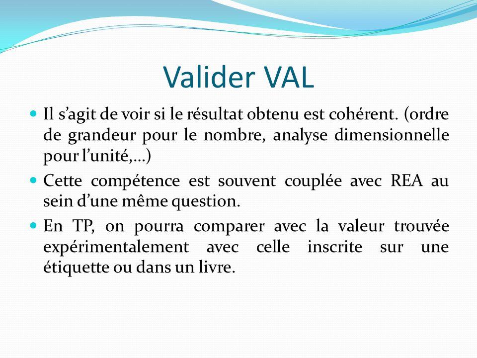 Valider VAL Il s'agit de voir si le résultat obtenu est cohérent.