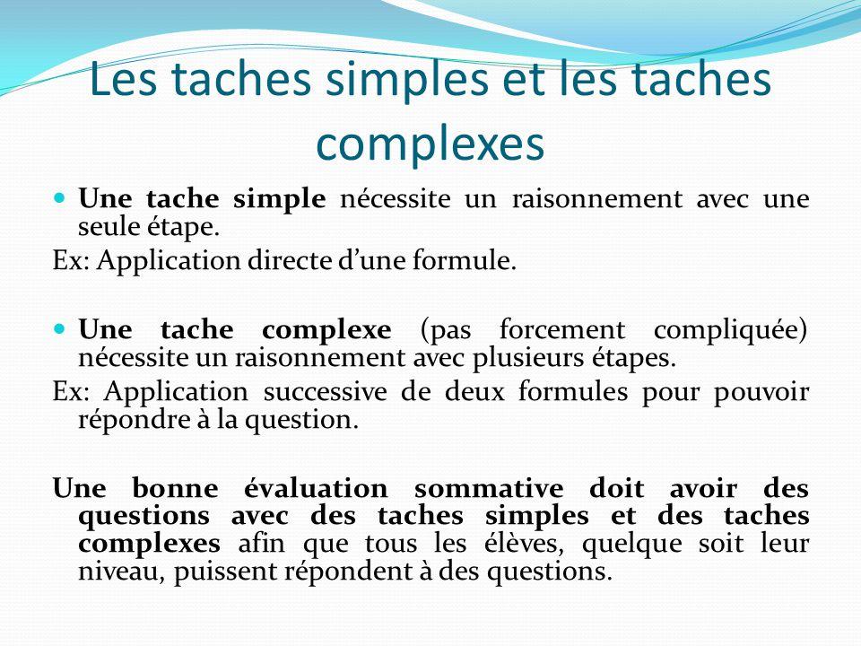 Les taches simples et les taches complexes Une tache simple nécessite un raisonnement avec une seule étape.