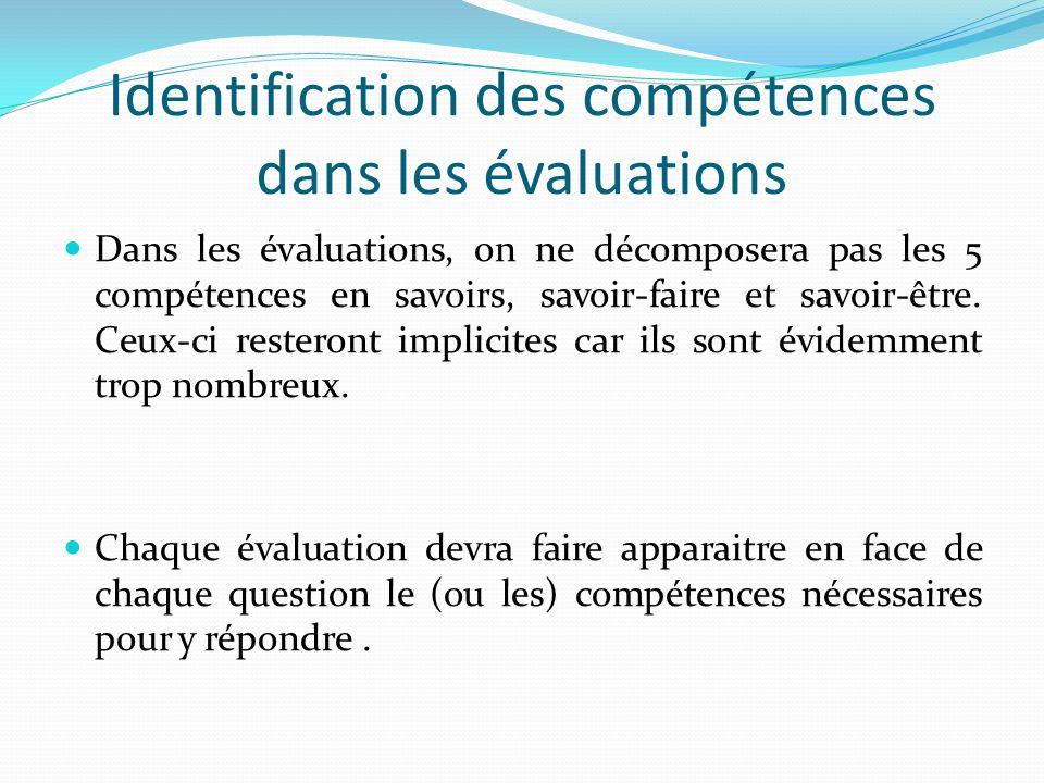 Identification des compétences dans les évaluations Dans les évaluations, on ne décomposera pas les 5 compétences en savoirs, savoir-faire et savoir-être.