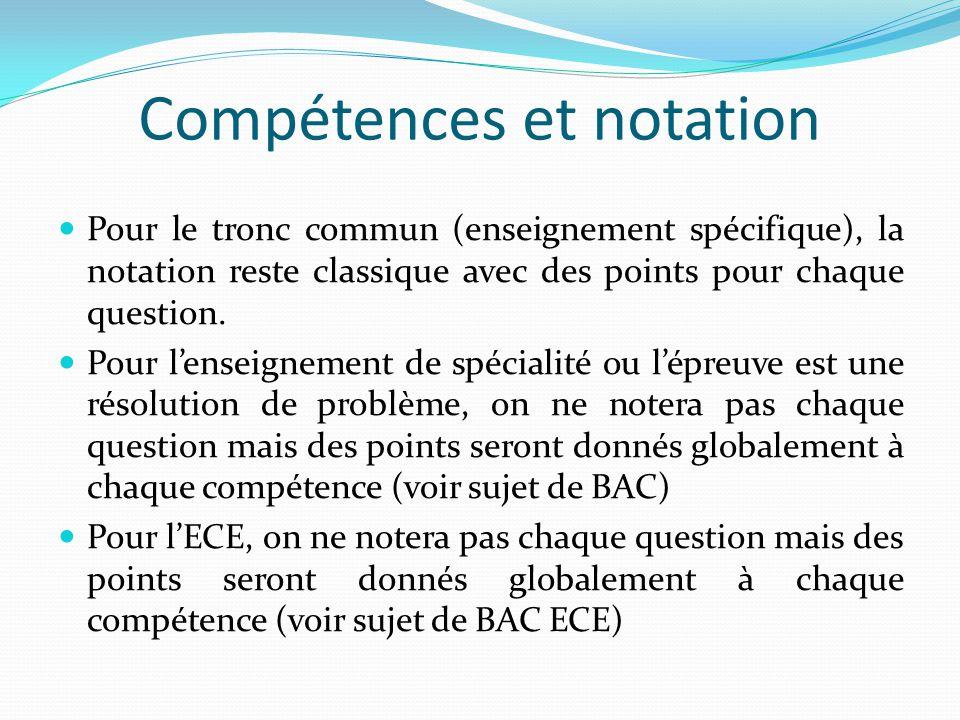 Compétences et notation Pour le tronc commun (enseignement spécifique), la notation reste classique avec des points pour chaque question.