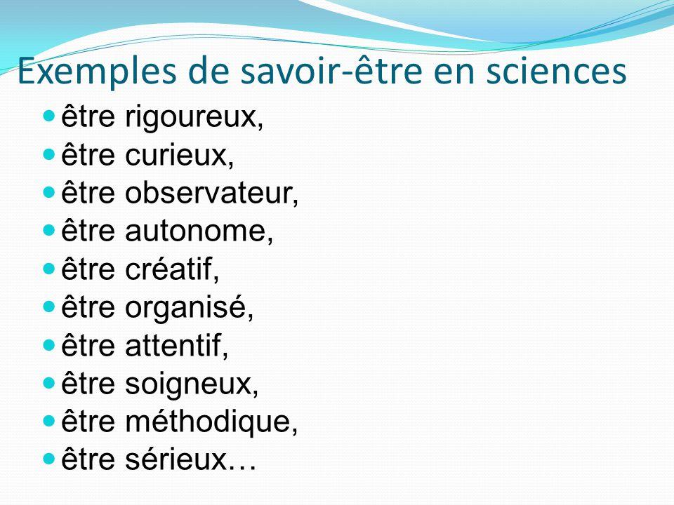 Exemples de savoir-être en sciences être rigoureux, être curieux, être observateur, être autonome, être créatif, être organisé, être attentif, être soigneux, être méthodique, être sérieux…