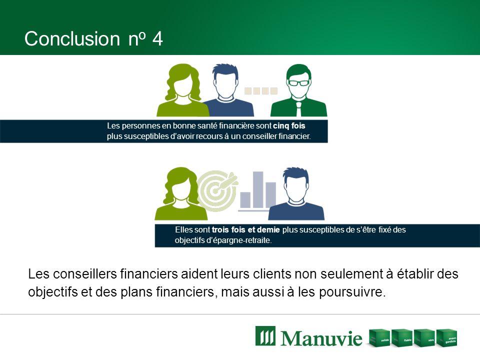 Conclusion n o 4 Les conseillers financiers aident leurs clients non seulement à établir des objectifs et des plans financiers, mais aussi à les poursuivre.