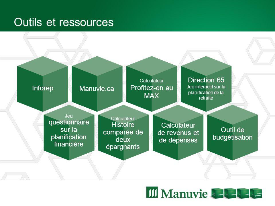 Outils et ressources Inforep Manuvie.ca Calculateur Profitez-en au MAX Direction 65 Jeu interactif sur la planification de la retraite Jeu questionnai