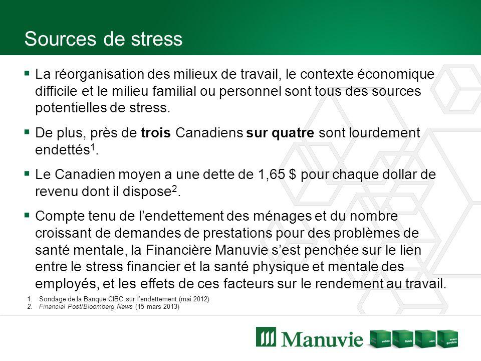 Sources de stress  La réorganisation des milieux de travail, le contexte économique difficile et le milieu familial ou personnel sont tous des sources potentielles de stress.