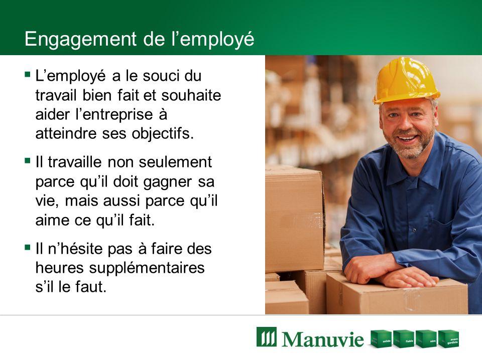 Engagement de l'employé  L'employé a le souci du travail bien fait et souhaite aider l'entreprise à atteindre ses objectifs.  Il travaille non seule
