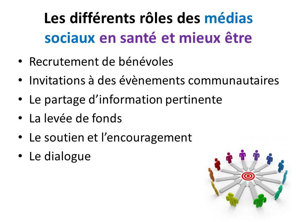 Les différents rôles des médias sociaux en santé et mieux être Recrutement de bénévoles Invitations à des évènements communautaires Le partage d'information pertinente La levée de fonds Le soutien et l'encouragement Le dialogue