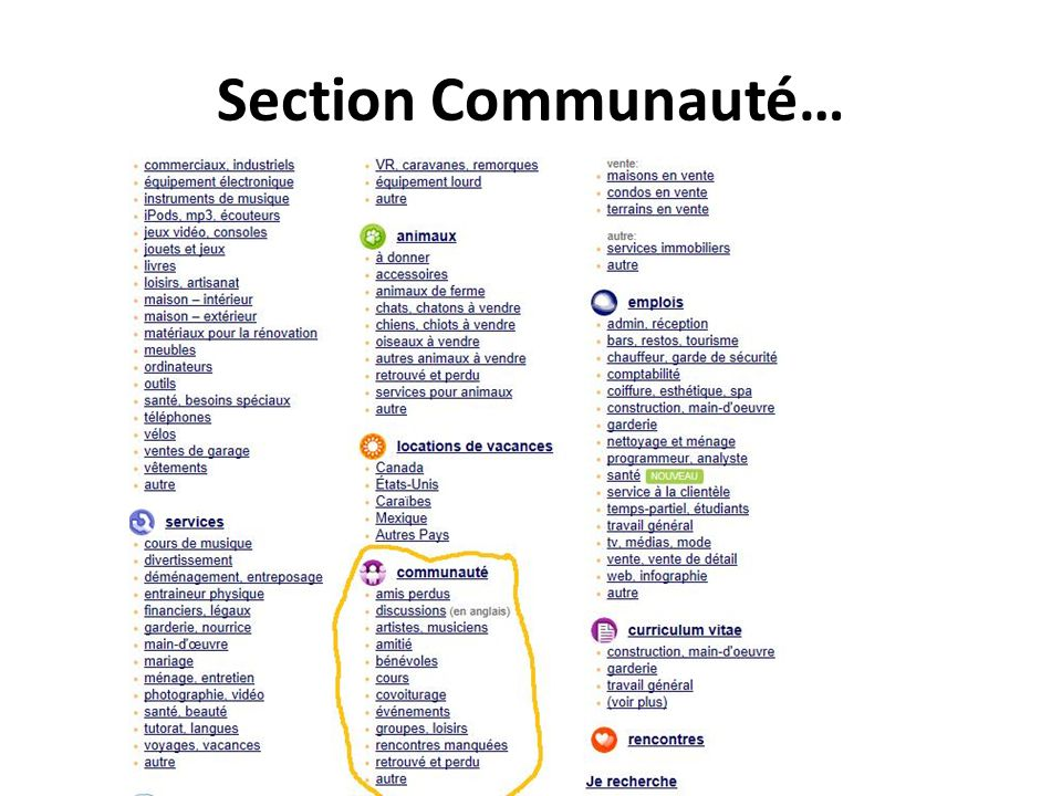 Section Communauté…
