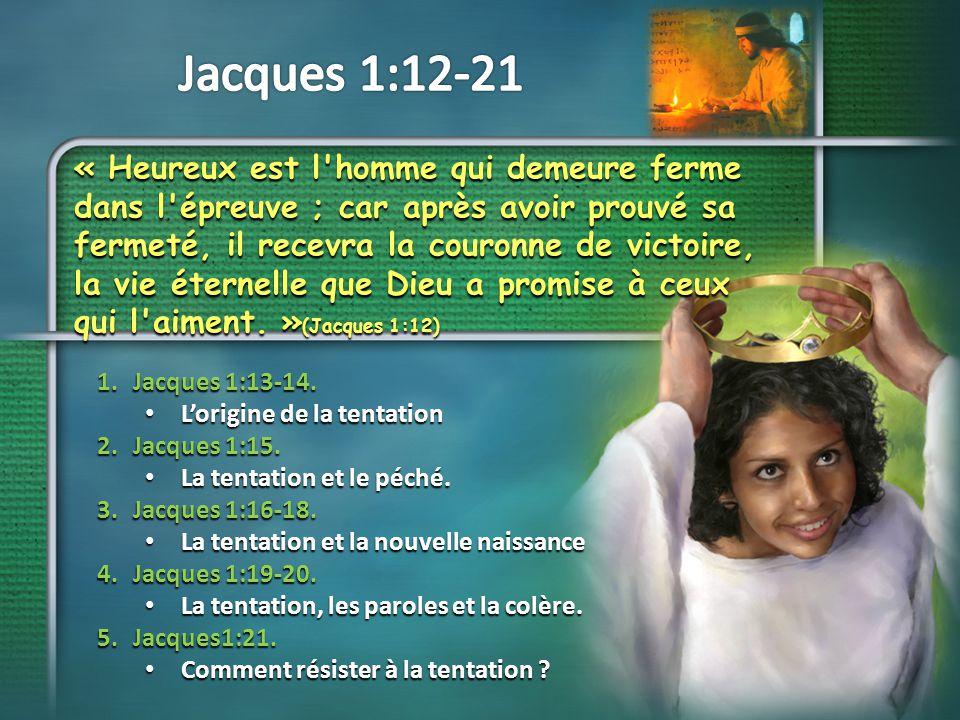 « Si quelqu un est tenté, qu il ne dise pas : C est Dieu qui me tente. Car Dieu ne peut pas être tenté de mal faire, et il ne tente lui-même personne.