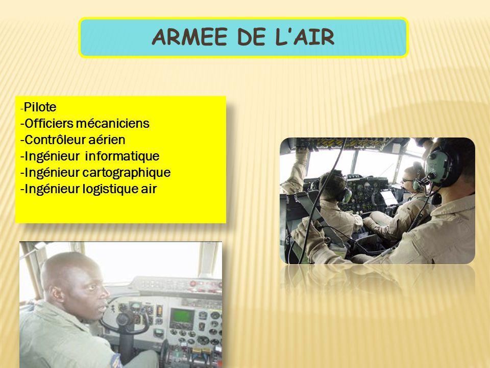 ARMEE DE L'AIR - Pilote -Officiers mécaniciens -Contrôleur aérien -Ingénieur informatique -Ingénieur cartographique -Ingénieur logistique air - Pilote