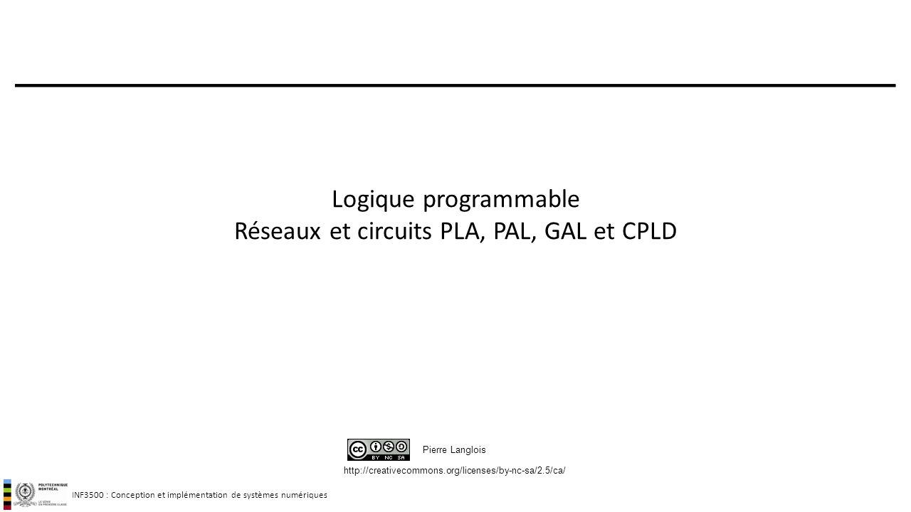INF3500 : Conception et implémentation de systèmes numériques http://creativecommons.org/licenses/by-nc-sa/2.5/ca/ Pierre Langlois Logique programmabl