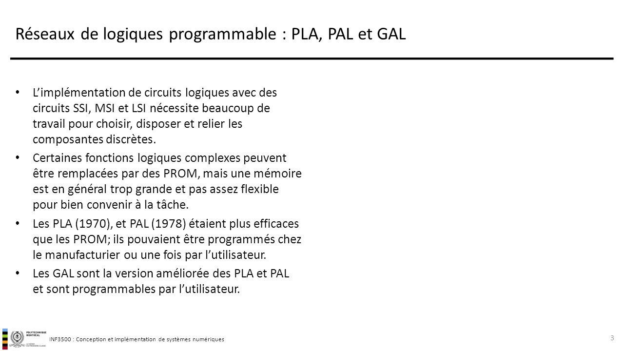 INF3500 : Conception et implémentation de systèmes numériques Réseaux de logiques programmable : PLA, PAL et GAL L'implémentation de circuits logiques