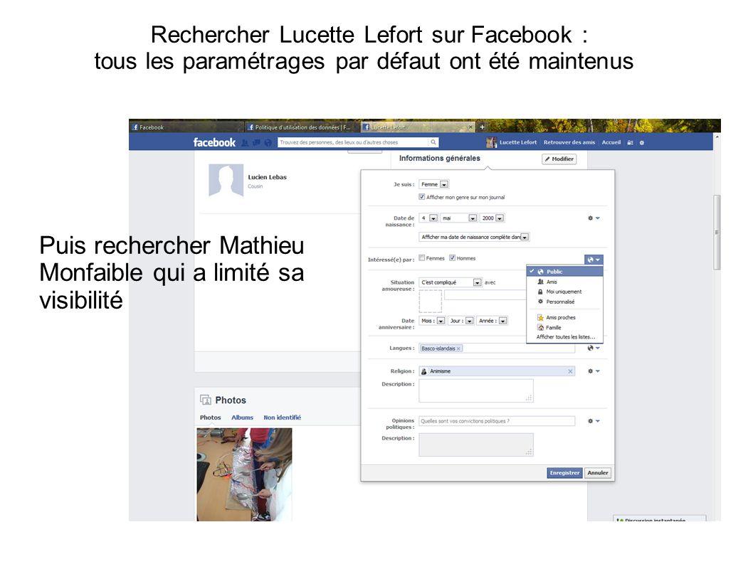 Rechercher Lucette Lefort sur Facebook : tous les paramétrages par défaut ont été maintenus Puis rechercher Mathieu Monfaible qui a limité sa visibilité