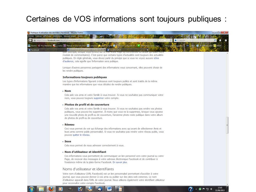 Certaines de VOS informations sont toujours publiques :