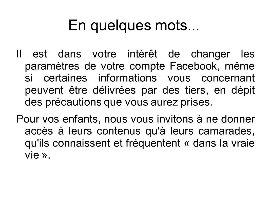 En quelques mots... Il est dans votre intérêt de changer les paramètres de votre compte Facebook, même si certaines informations vous concernant peuve