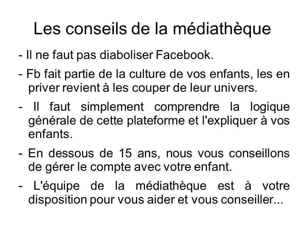 Les conseils de la médiathèque - Il ne faut pas diaboliser Facebook. - Fb fait partie de la culture de vos enfants, les en priver revient à les couper