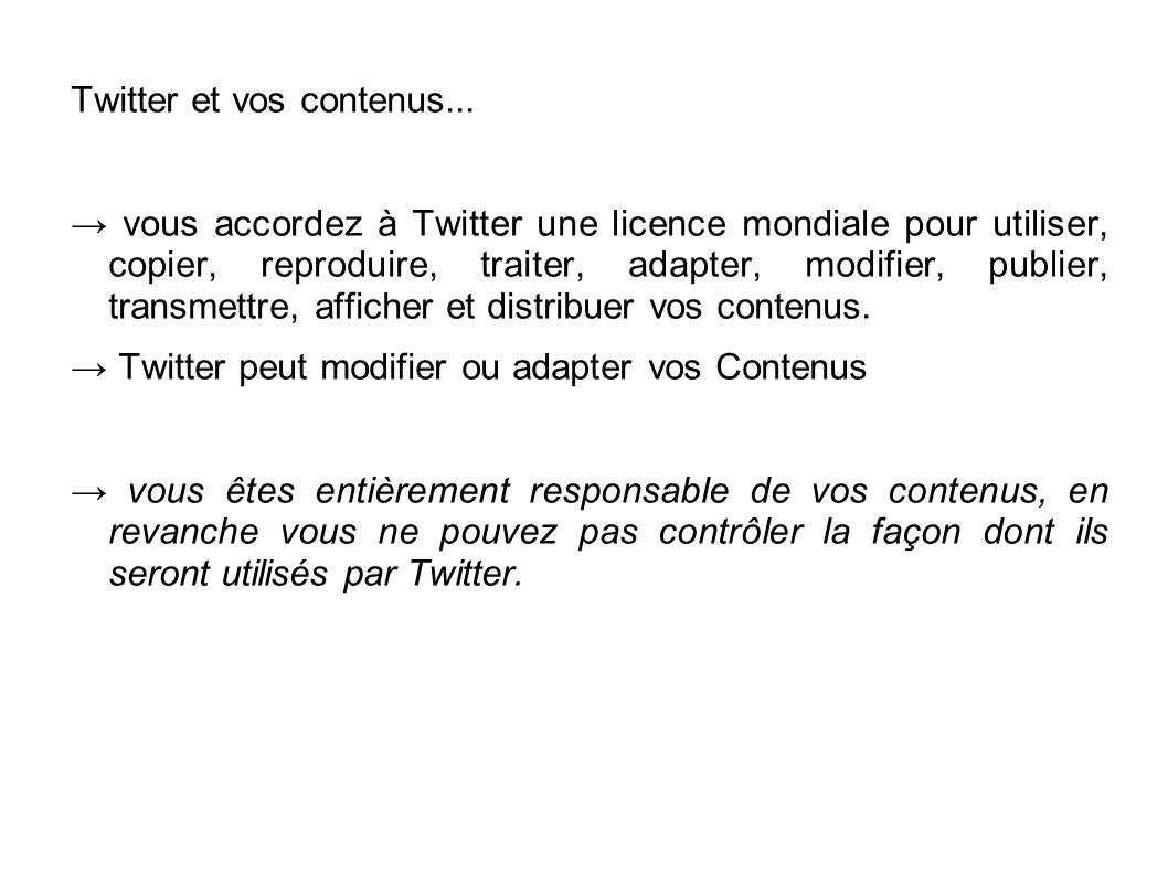 Twitter et vos contenus... → vous accordez à Twitter une licence mondiale pour utiliser, copier, reproduire, traiter, adapter, modifier, publier, tran