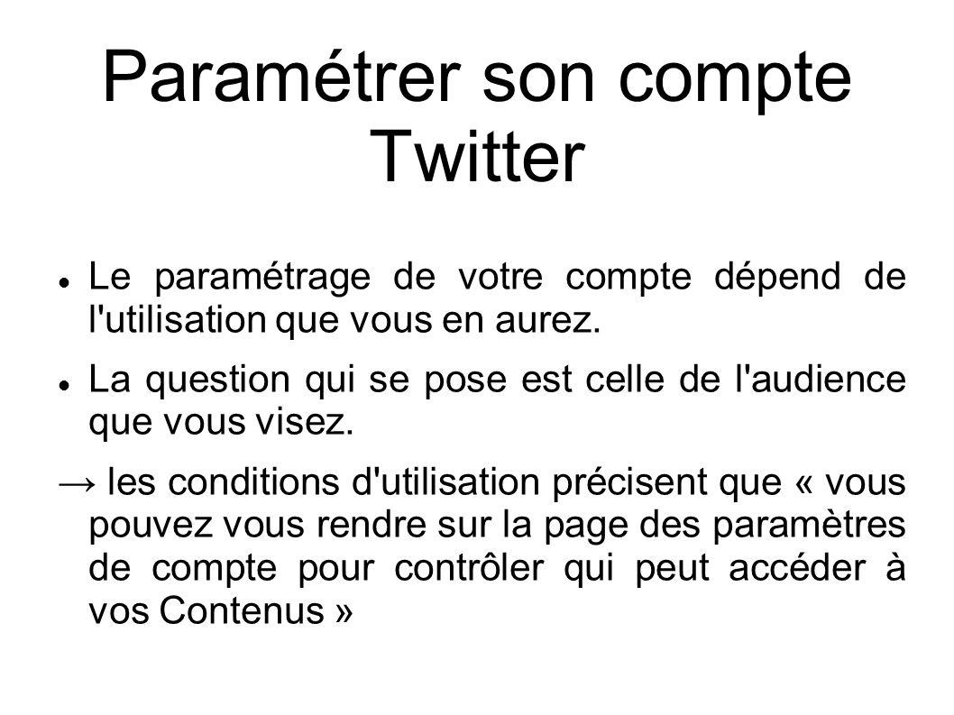 Paramétrer son compte Twitter Le paramétrage de votre compte dépend de l'utilisation que vous en aurez. La question qui se pose est celle de l'audienc
