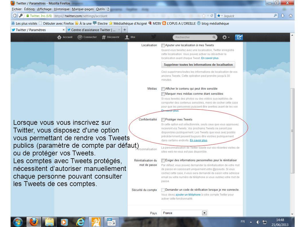 Lorsque vous vous inscrivez sur Twitter, vous disposez d'une option vous permettant de rendre vos Tweets publics (paramètre de compte par défaut) ou d