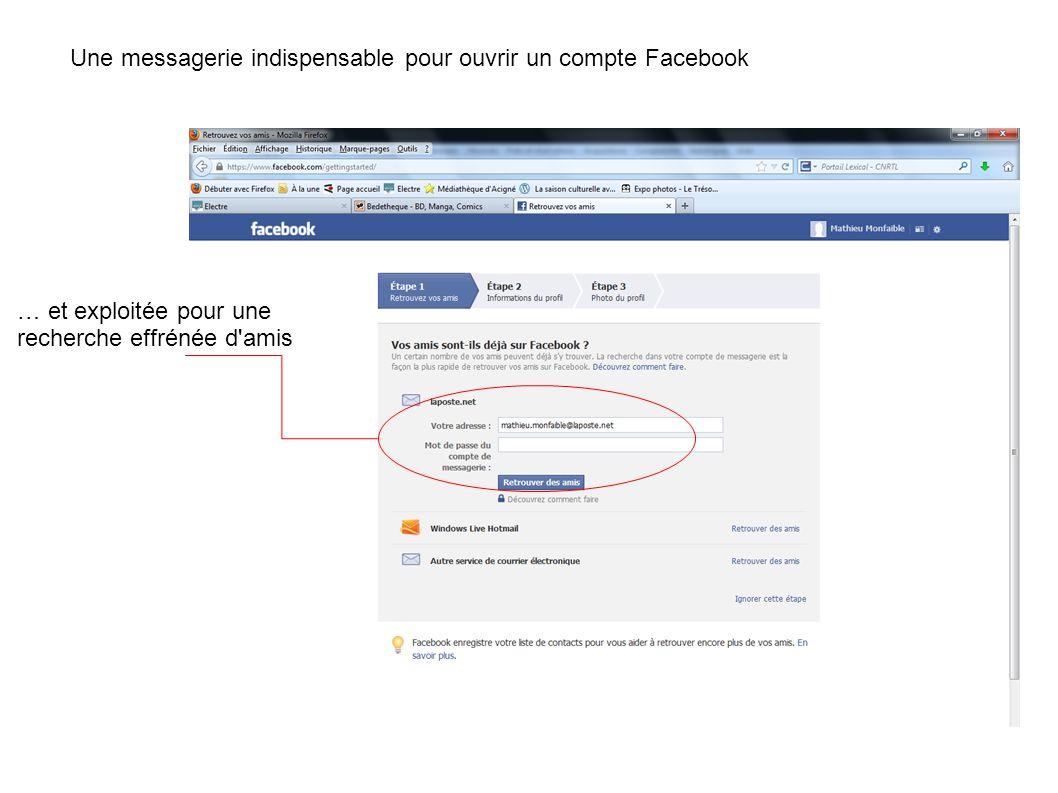 … et exploitée pour une recherche effrénée d'amis Une messagerie indispensable pour ouvrir un compte Facebook