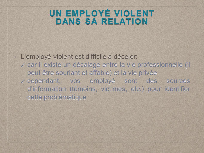 UN EMPLOYÉ VIOLENT DANS SA RELATION.