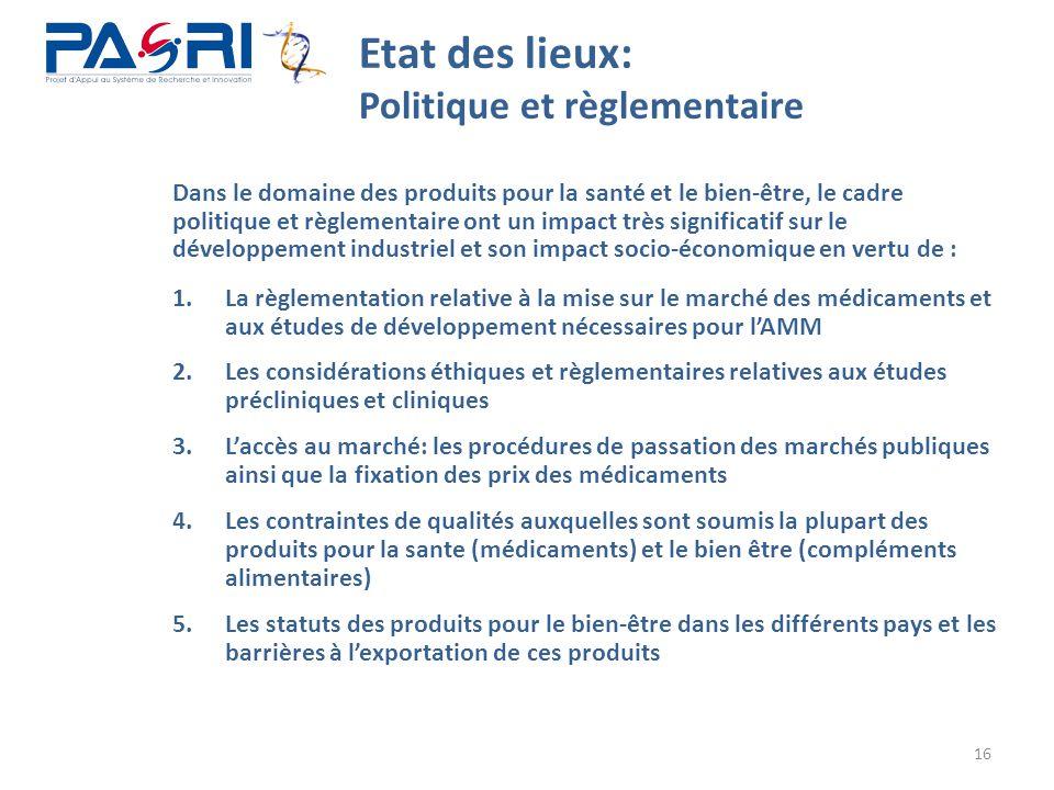 16 Etat des lieux: Politique et règlementaire 1.La règlementation relative à la mise sur le marché des médicaments et aux études de développement néce