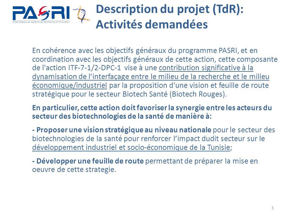 3 Description du projet (TdR): Activités demandées En cohérence avec les objectifs généraux du programme PASRI, et en coordination avec les objectifs