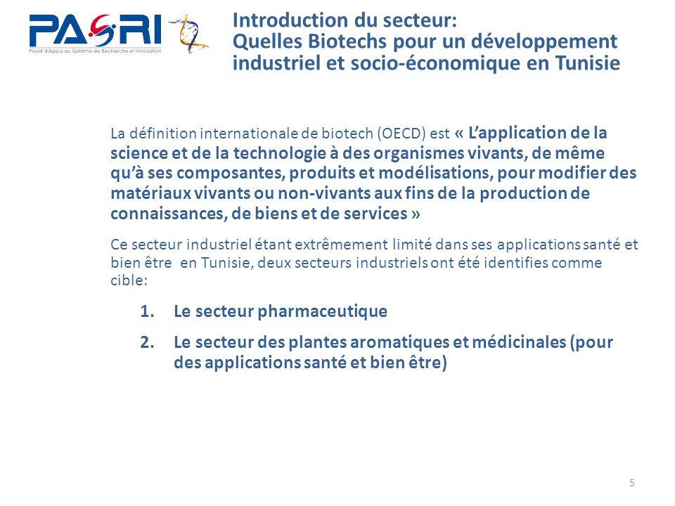 5 Introduction du secteur: Quelles Biotechs pour un développement industriel et socio-économique en Tunisie La définition internationale de biotech (O