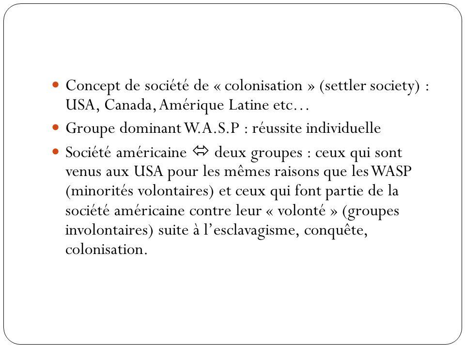 Les termes « initiaux » d'incorporation (Histoire) : Comment le groupe a acquis le statut de minorité culturelle (migrants)? Quelle est le traitement
