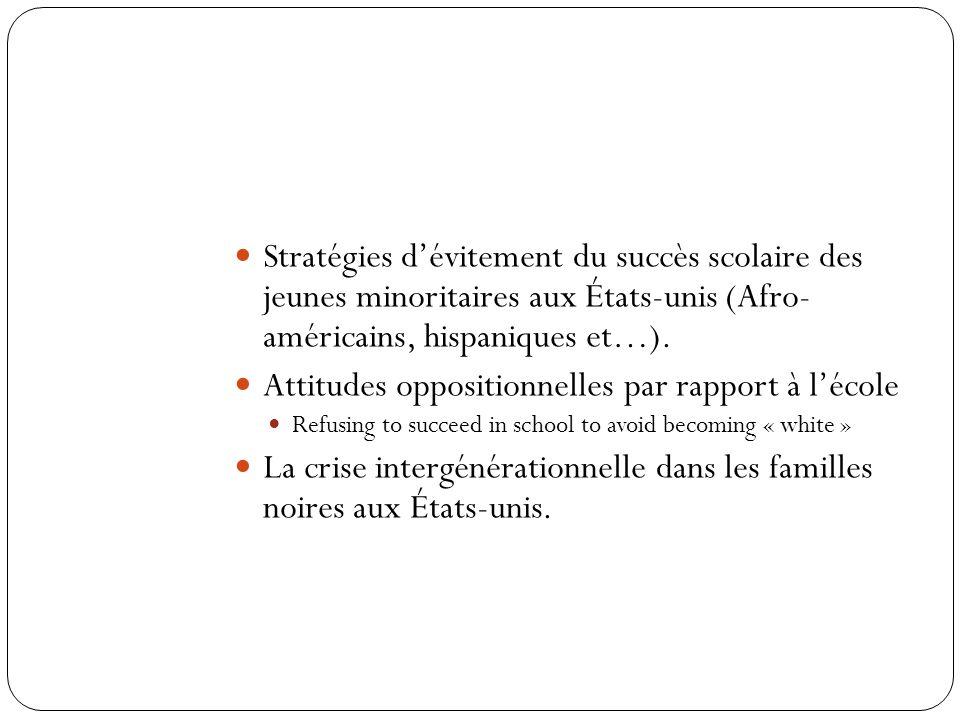 Le système Politiques et pratiques sociales et éducatives Bénéfices (rewards) sociaux escomptés par les performances scolaires Traitement des minorité