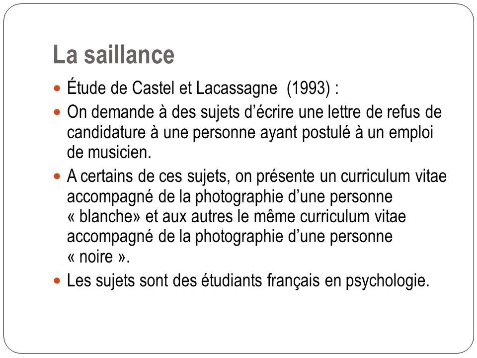 Trois types de discriminations La Saillance (apparence physique) La Perception sensorielle de la différence produit une moins grande efficacité de la