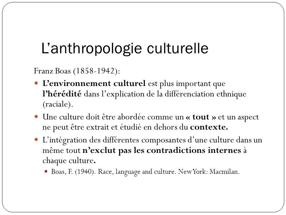 L'anthropologie culturelle Franz Boas (1858-1942): L'environnement culturel est plus important que l'hérédité dans l'explication de la différenciation ethnique (raciale).
