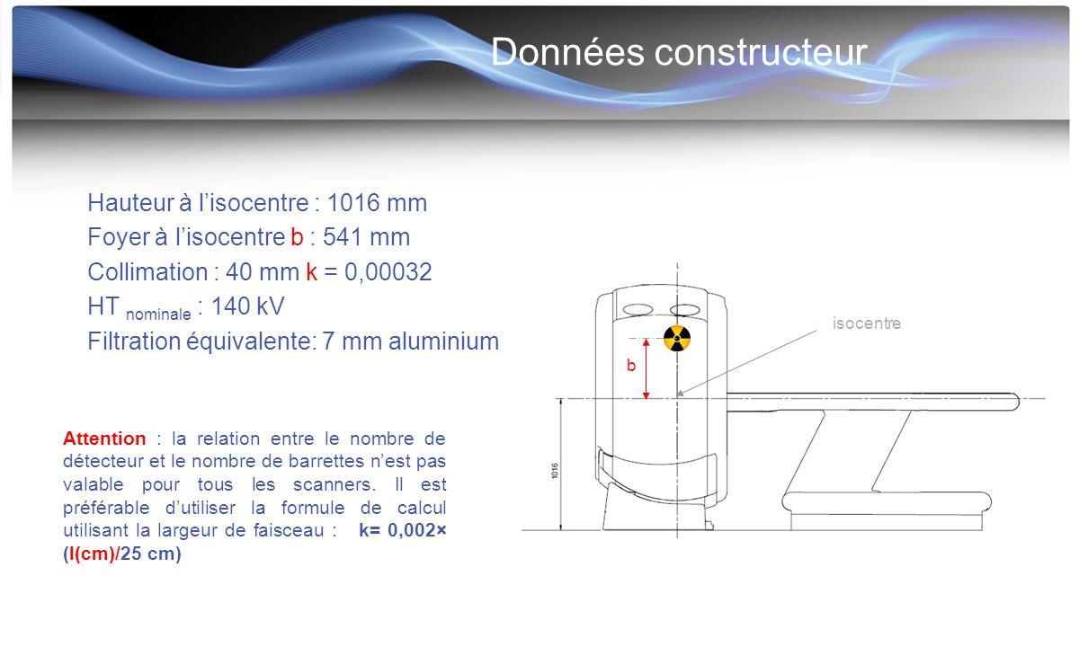 Données constructeur b Attention : la relation entre le nombre de détecteur et le nombre de barrettes n'est pas valable pour tous les scanners. Il est