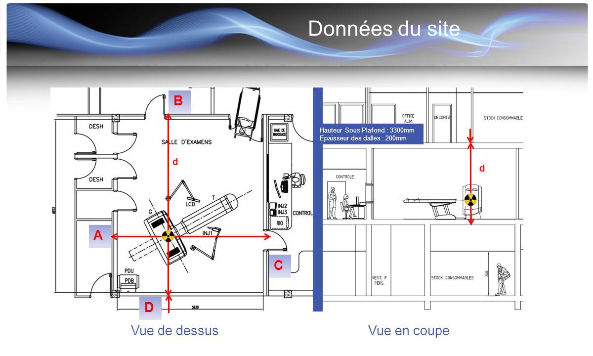 Données du site d Vue de dessusVue en coupe Hauteur Sous Plafond : 3300mm Epaisseur des dalles : 200mm d A B C D