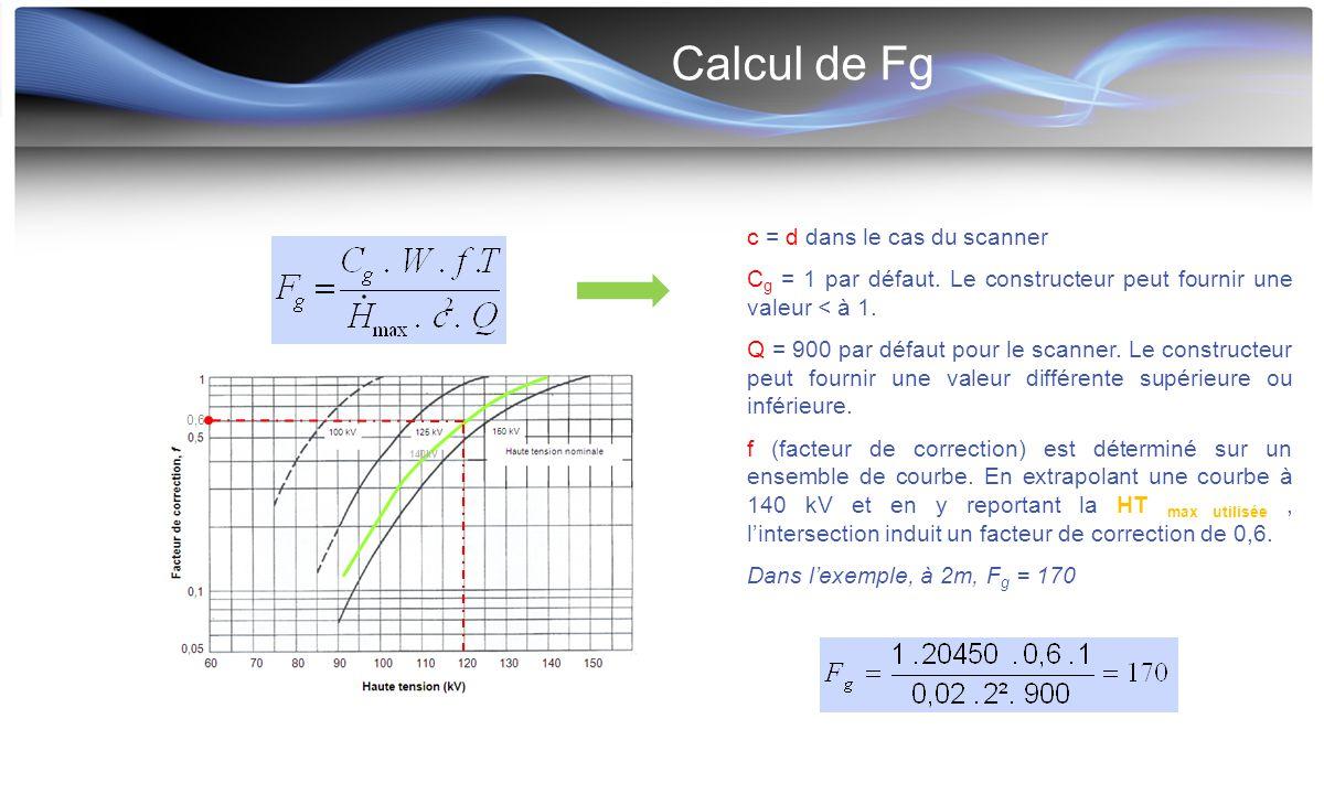 Calcul de Fg c = d dans le cas du scanner C g = 1 par défaut. Le constructeur peut fournir une valeur < à 1. Q = 900 par défaut pour le scanner. Le co