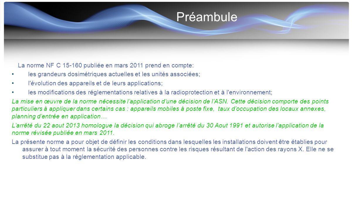 Préambule La norme NF C 15-160 publiée en mars 2011 prend en compte: les grandeurs dosimétriques actuelles et les unités associées; l'évolution des ap