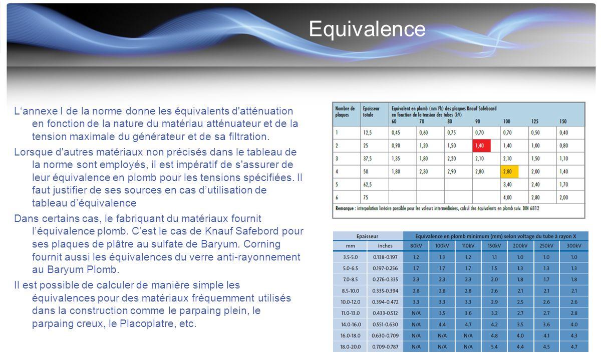 Equivalence L'annexe I de la norme donne les équivalents d'atténuation en fonction de la nature du matériau atténuateur et de la tension maximale du g