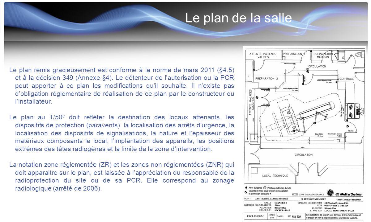Le plan de la salle Le plan remis gracieusement est conforme à la norme de mars 2011 (§4.5) et à la décision 349 (Annexe §4). Le détenteur de l'autori