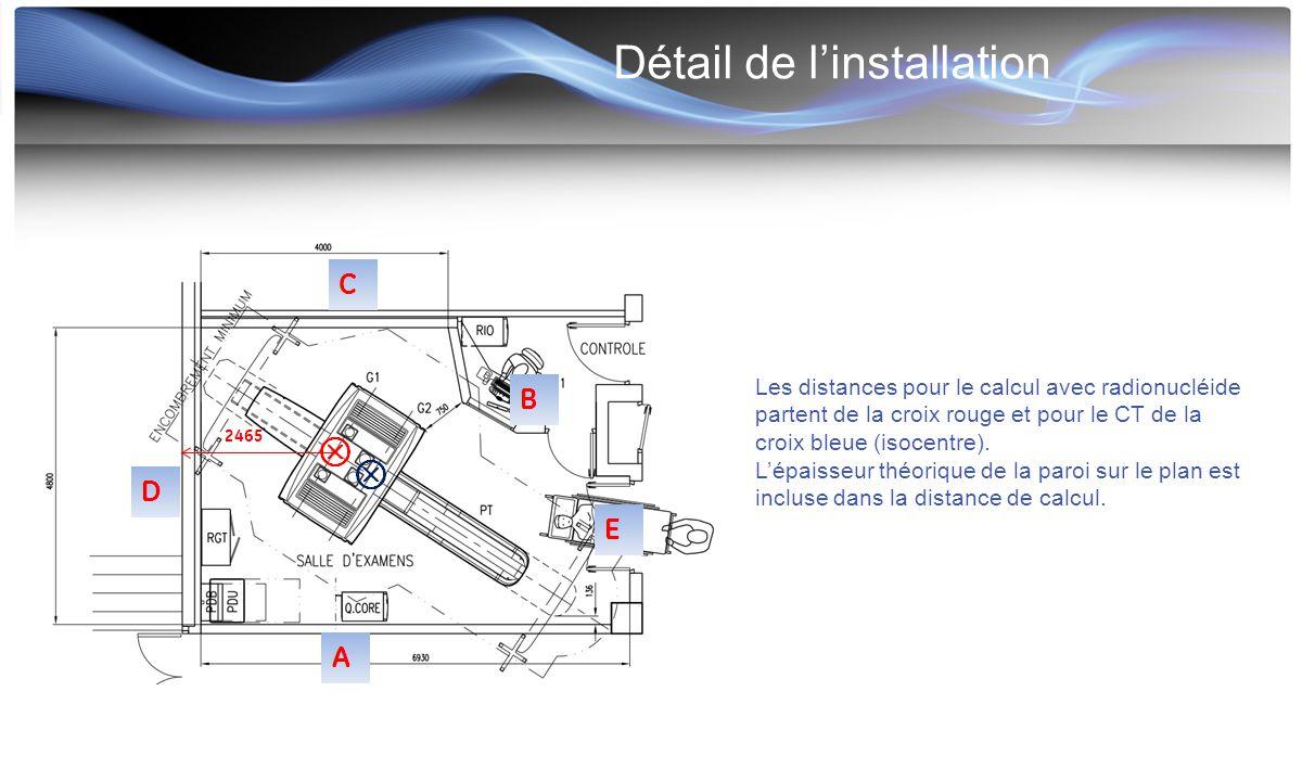 Détail de l'installation Les distances pour le calcul avec radionucléide partent de la croix rouge et pour le CT de la croix bleue (isocentre). L'épai