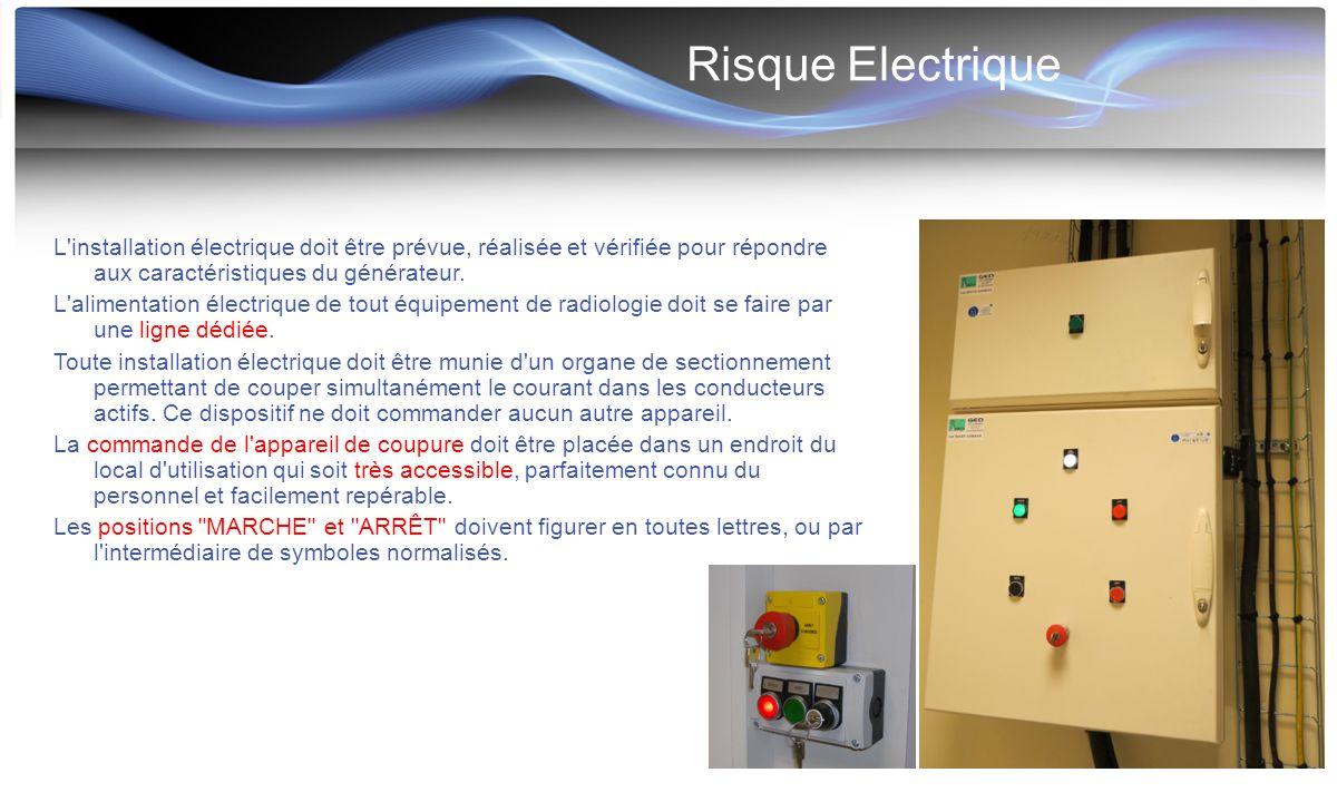 Risque Electrique L'installation électrique doit être prévue, réalisée et vérifiée pour répondre aux caractéristiques du générateur. L'alimentation él