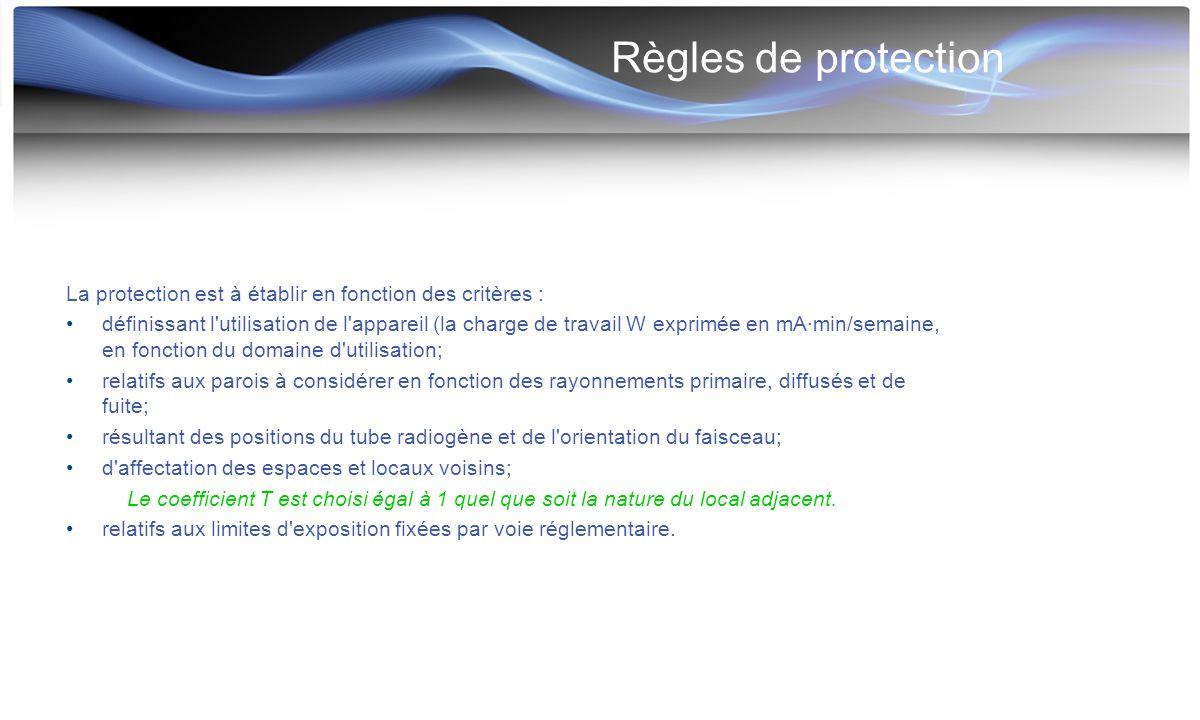 Règles de protection La protection est à établir en fonction des critères : définissant l'utilisation de l'appareil (la charge de travail W exprimée e